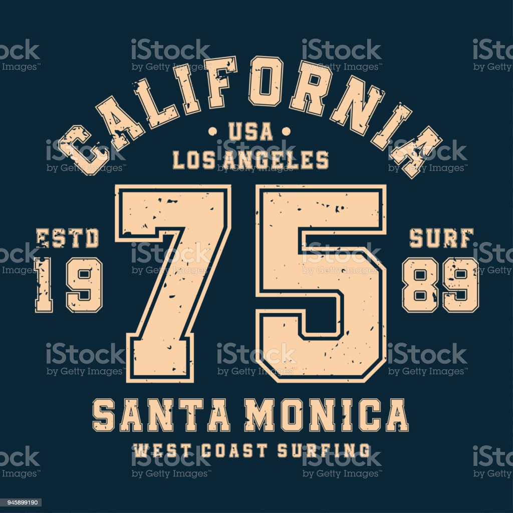 Surfing California Tshirt Design Badge For Athletic Shirt Print