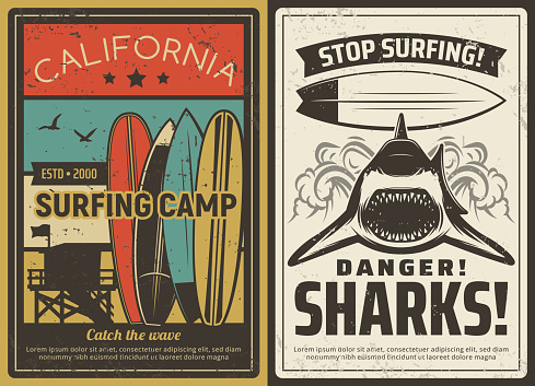Surfing camp and shark danger retro vector poster