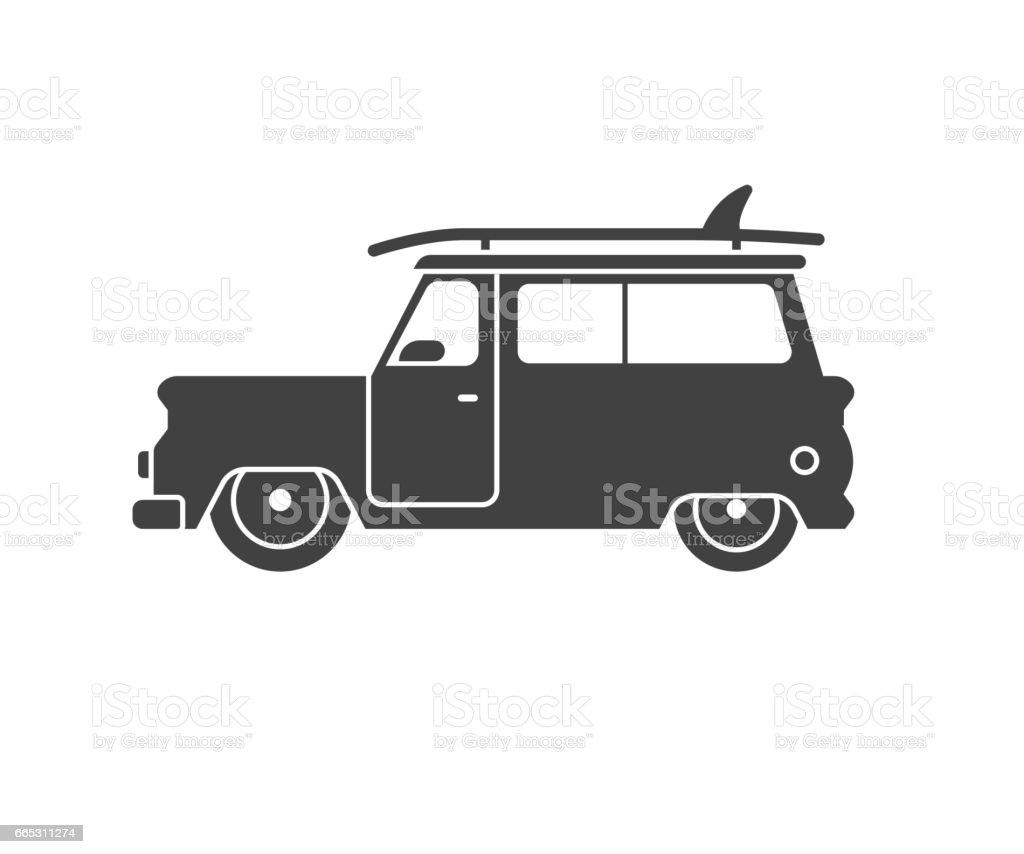 surfing car outline label stock vector art 665311274 istock