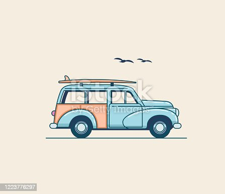 Surfing car. Retro blue SUV truck with surfboard on the roof rack isolated on white background. Summer time vacation illustration for poster or card or t-shirt design. Flat styled vector eps 10 illustration
