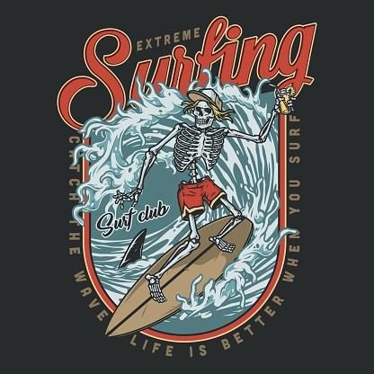 Surfing club vintage colorful design