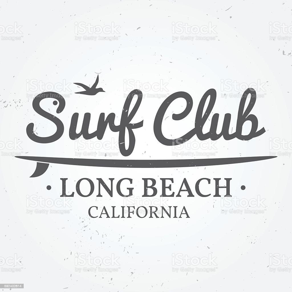 Surfing concept for shirt or logo, print, stamp. vector art illustration