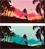 Suf scenes sunset and moonlight with silhouette of surfer, palm trees and seagulls.