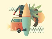 Surfing design concept. Summer travel sea, vacation tropical, holiday outdoor, vector illustration