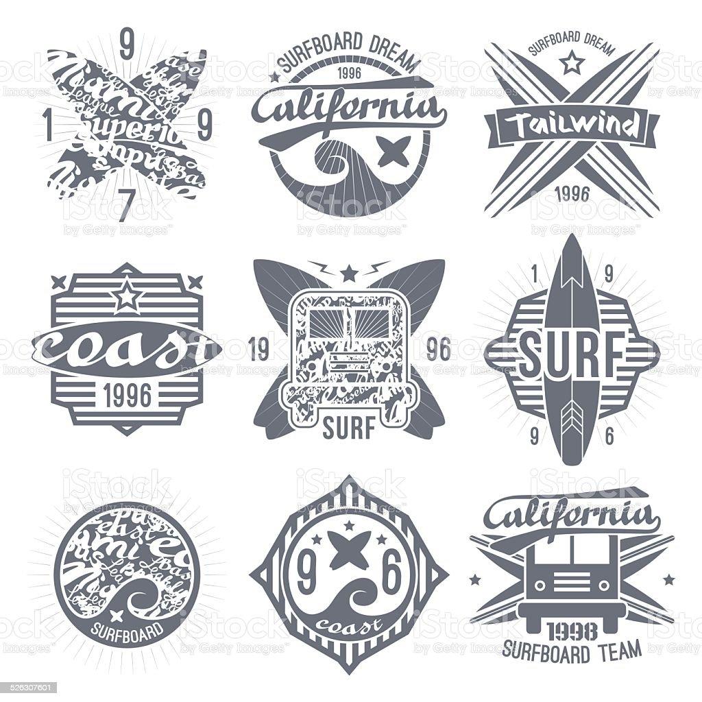 Surfing emblem in retro style vector art illustration