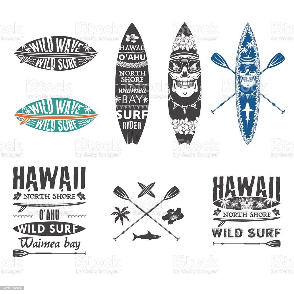 Surfing emblem set 2 vector art illustration