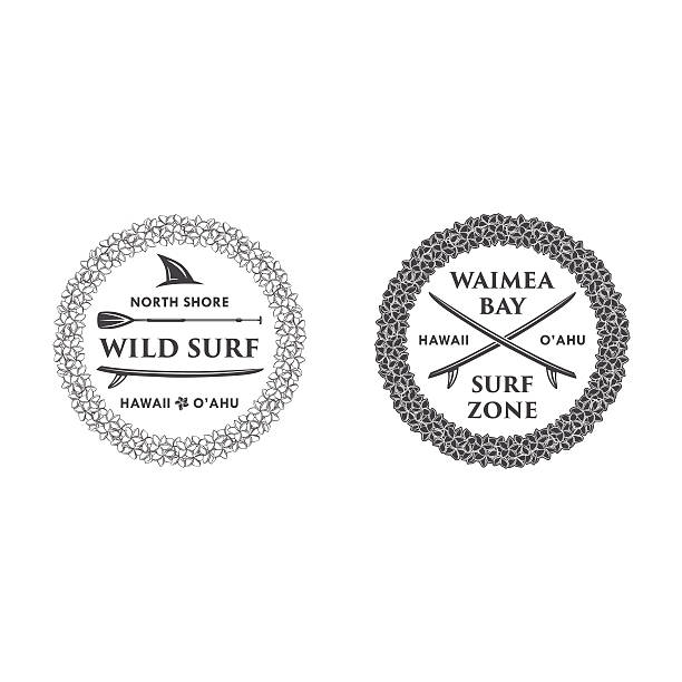 surfing emblem set 4 - hawaiian lei stock illustrations, clip art, cartoons, & icons
