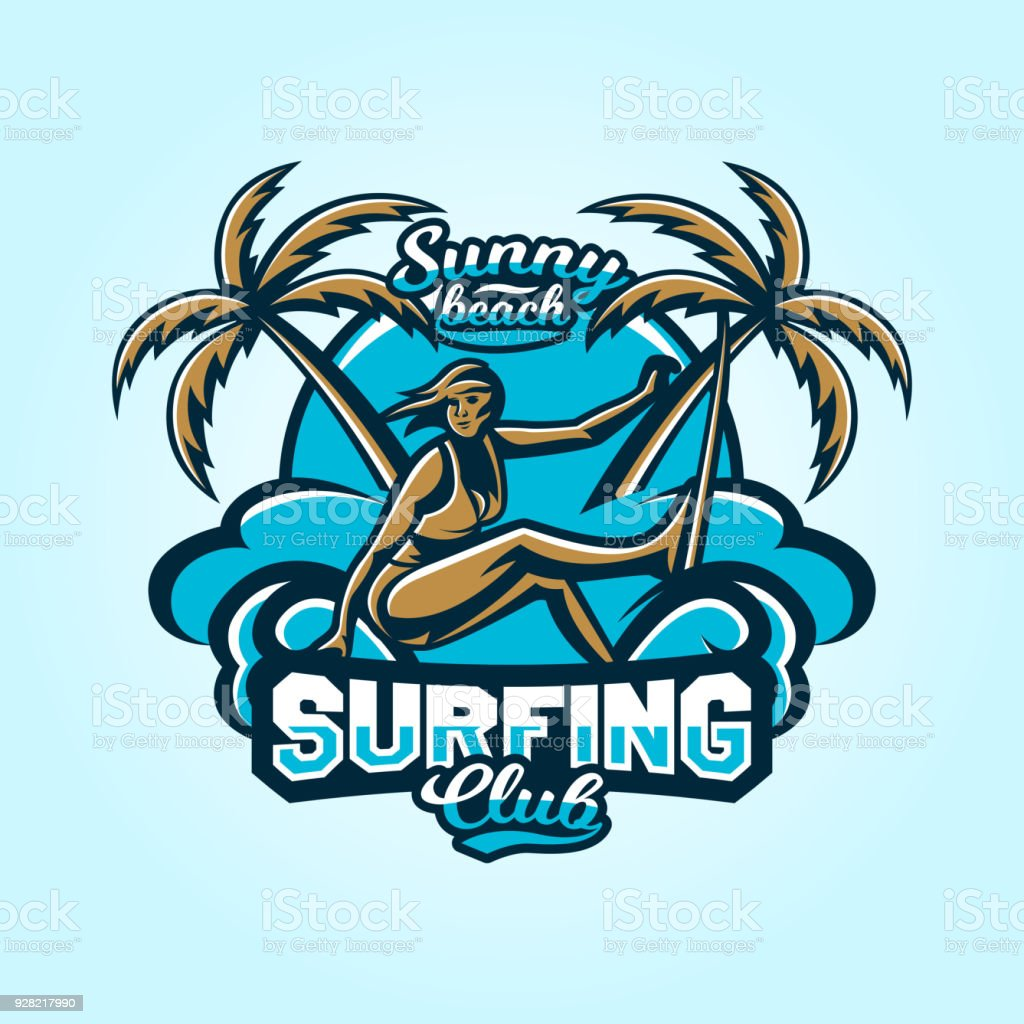 surfing. Emblem surfer girl in a bathing suit. Beach, waves, palm trees, tropical island. Extreme sport. Badges shield, lettering. Vector illustration. vector art illustration