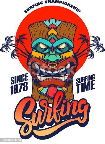 istock Surfing. Emblem template with tiki idol. Design element for poster, card, banner, sign, emblem. Vector illustration 1305443670