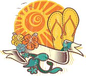 Summer grunge emblem with flip flop sandals with seagulls, ribbon hibiscus and foliage over big sun in the background.