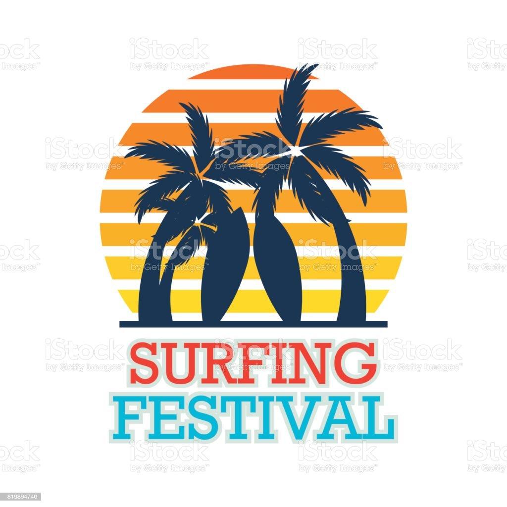 surfing festival banner for surfing competition. vector illustration vector art illustration