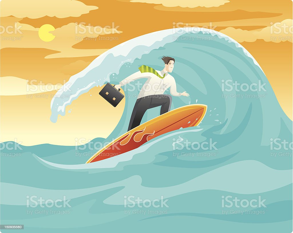 Surfing for online Business royalty-free stock vector art