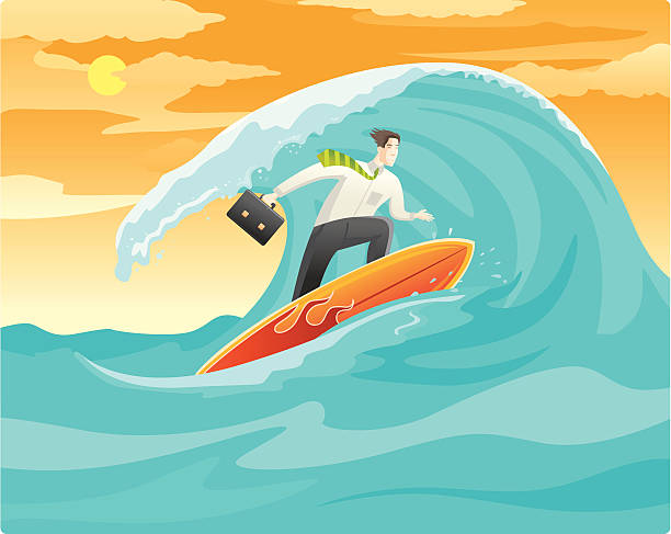 Surfing for online Business vector art illustration