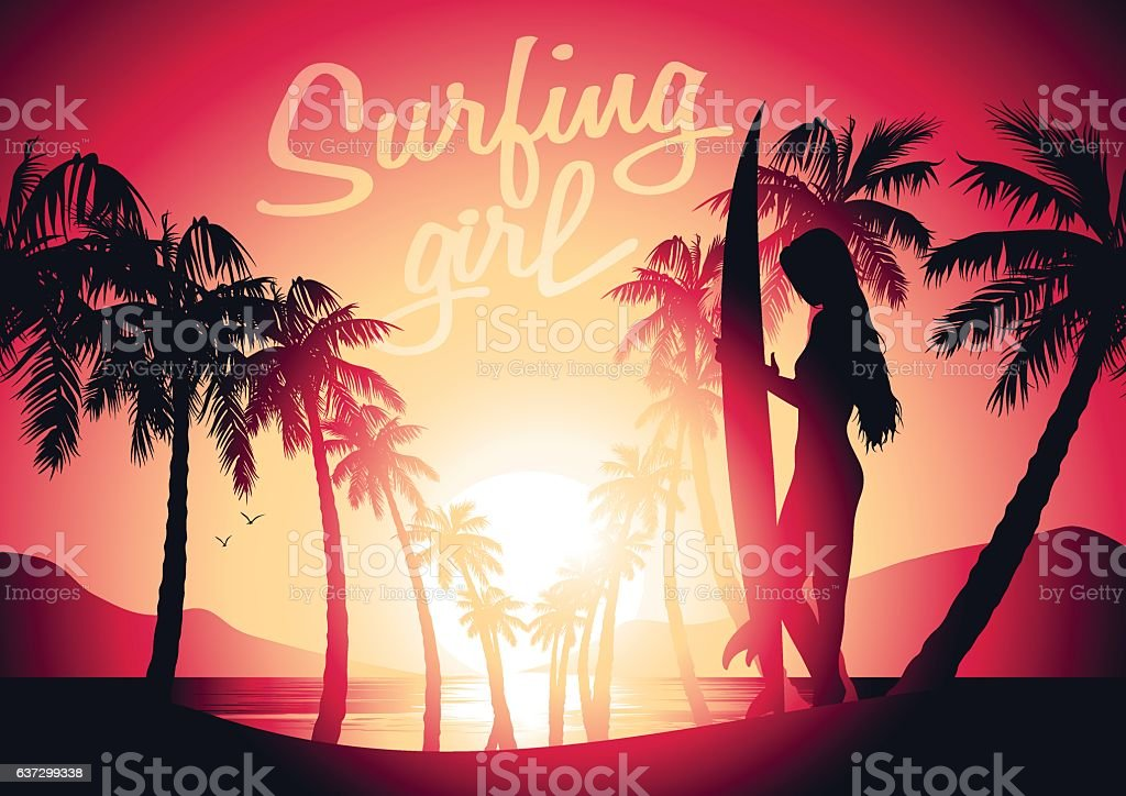 Surfing girl and sunrise at a tropical beach vector art illustration