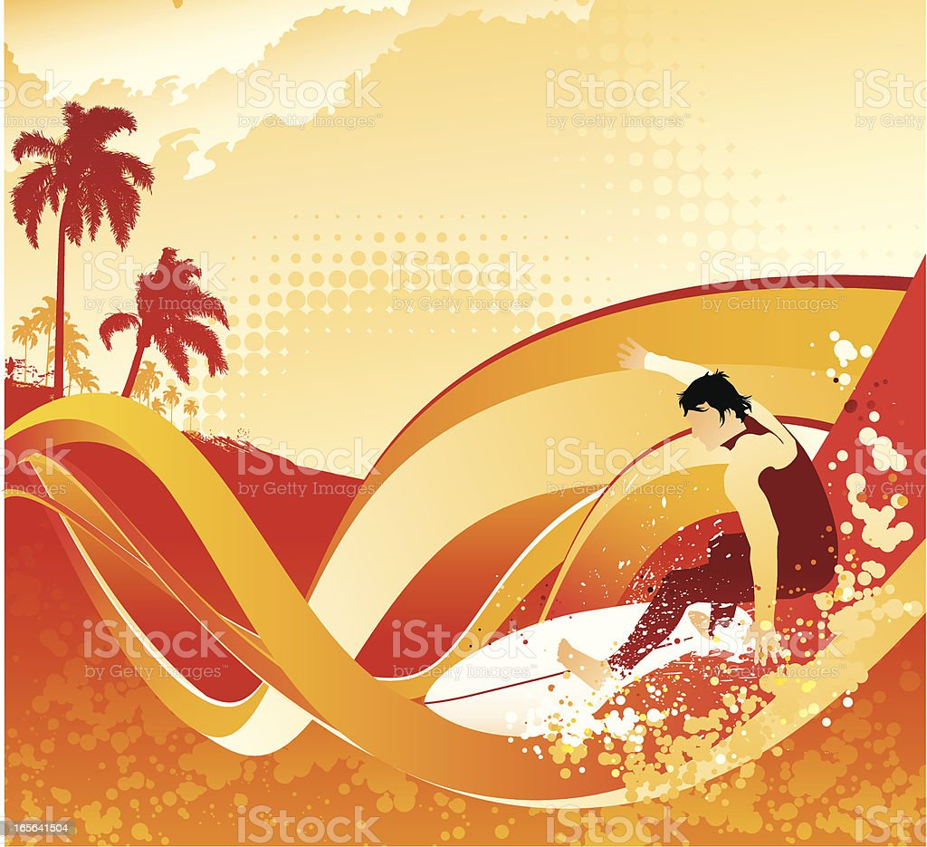 Surfing heat vector art illustration