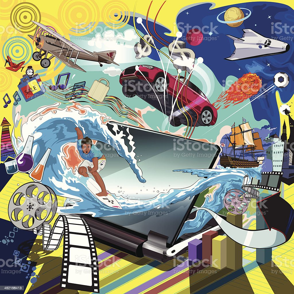 surfing in cyberspace royalty-free stock vector art
