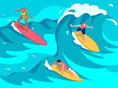 Experienced surfers paddle into towed onto high waves using larger longer boards colorful isometric composition vector illustration