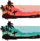 Tropical surf scene, coastline with surfer walking, palm trees and seagulls. Ideal as background, banner or t-shirts motif.