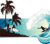 Surfers walking by the coast and surfer riding a big wave next to a palm-covered coastline.