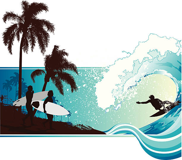 Surfing landscape vector art illustration