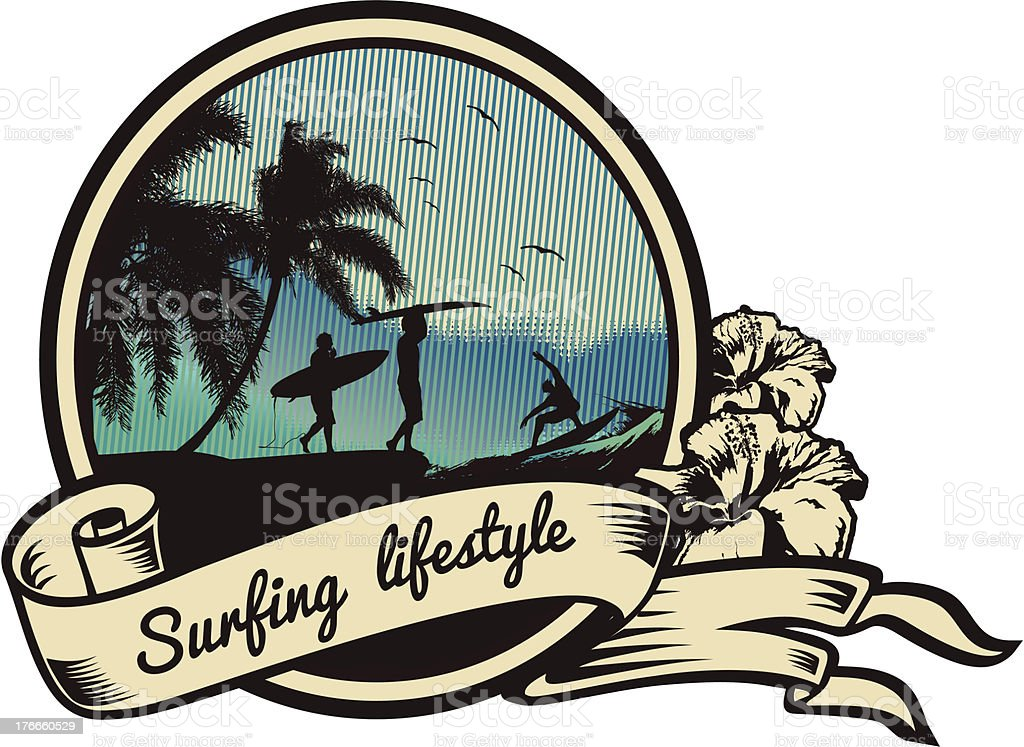 Surfing Lifestyle emblem royalty-free surfing lifestyle emblem stock vector art & more images of adventure