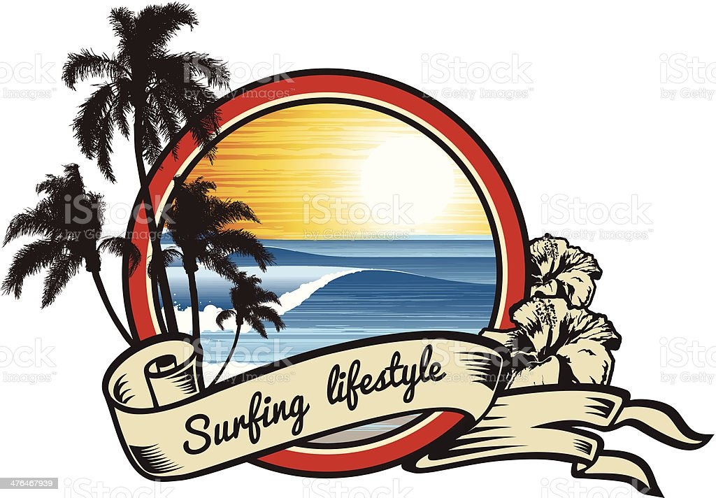 Surfing Lifestyle emblem royalty-free stock vector art