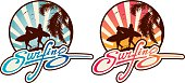 Surfing Lifestyle emblem with Surfing lettering, beach landscape at background, surfers silhouette with boards walking at sunset, palm tree and seagulls.