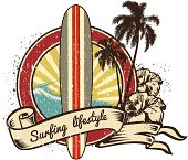 Retro vintage surf emblem with long board and  Surfing Lifestyle lettering in ribbon with hibiscus.