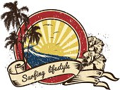 Retro vintage wave emblem with Surfing Lifestyle lettering in ribbon with hibiscus.