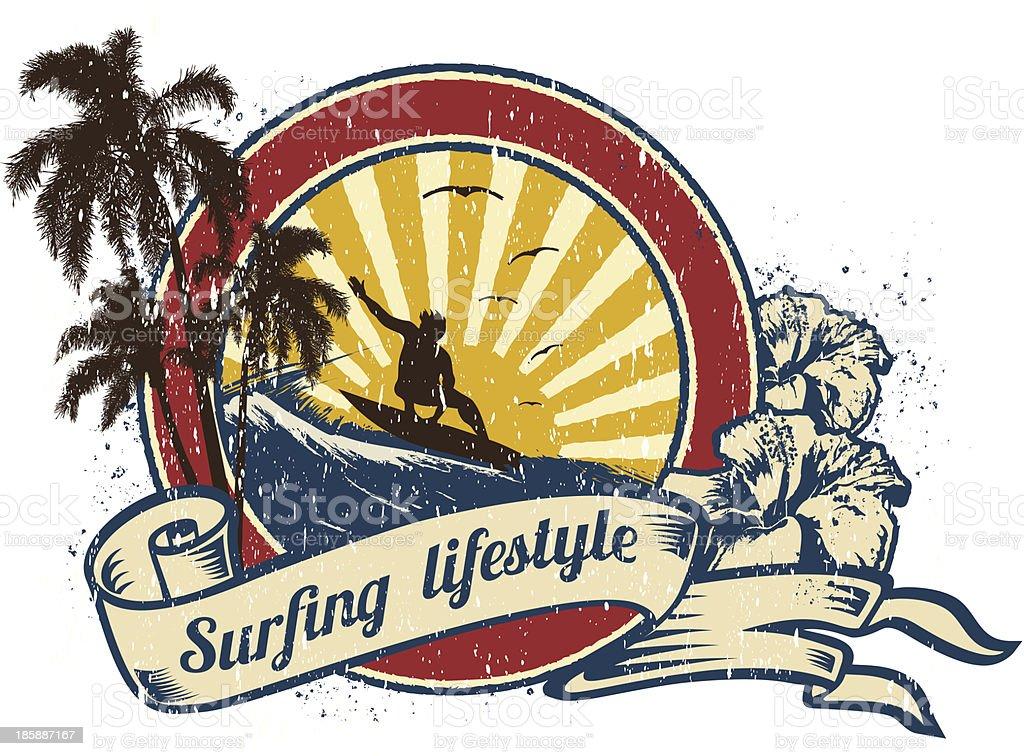 Surfing Lifestyle retro emblem royalty-free stock vector art