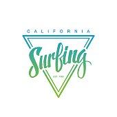 Surfing logo. Surfing calligraphy. Handwritten word.