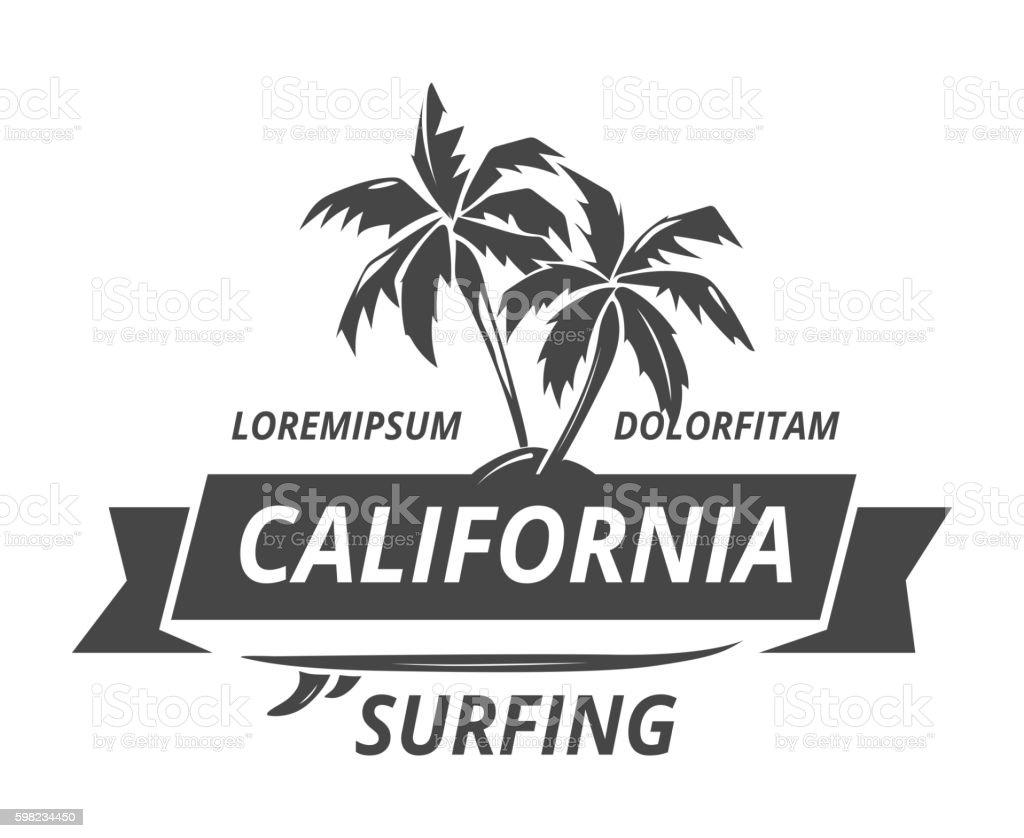 Surfing logo with palm tree ilustração de surfing logo with palm tree e mais banco de imagens de antigo royalty-free