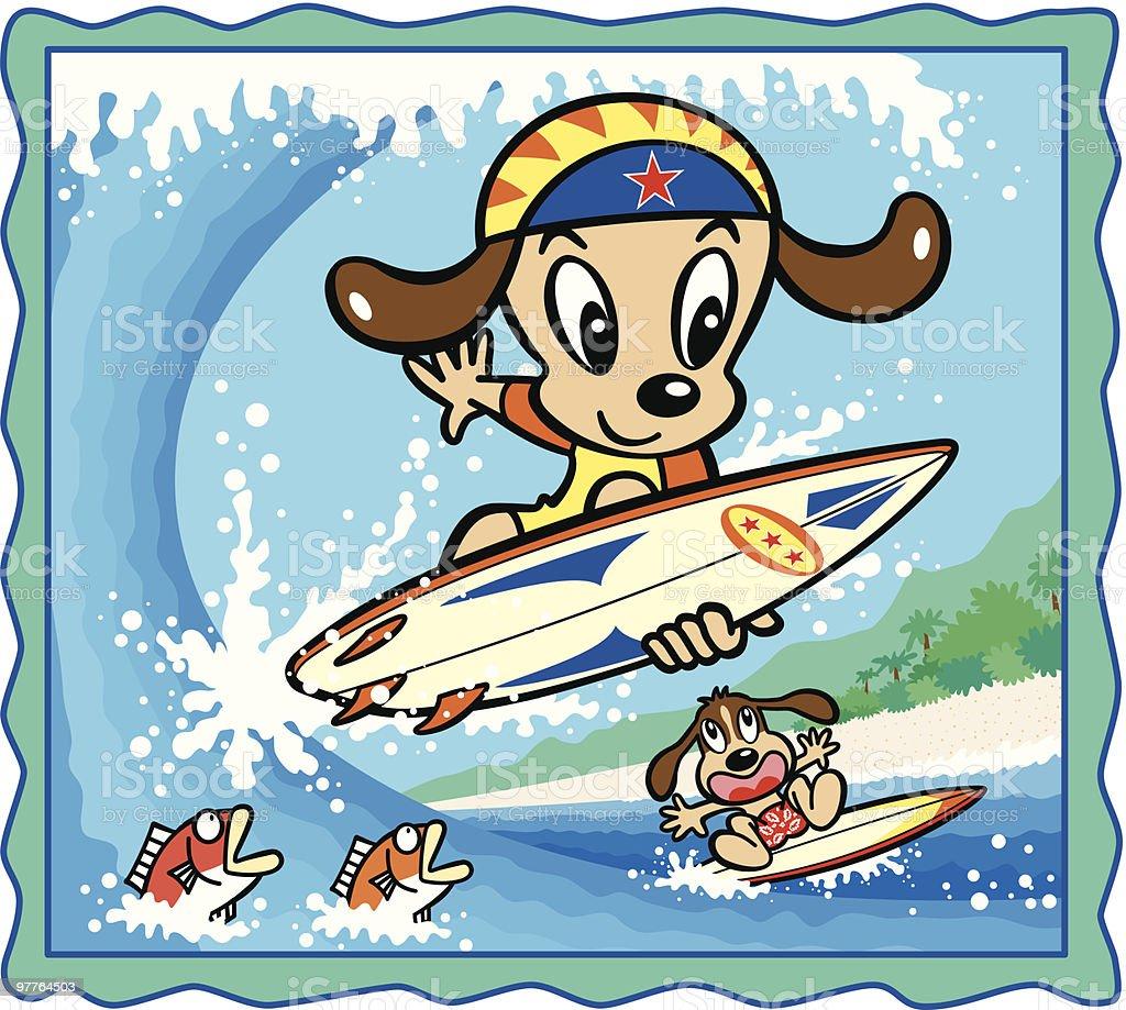Dog surfing clipart