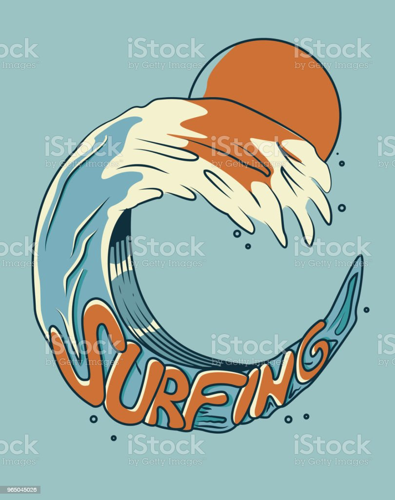 Surfing on a wave. Vector illustration with retro colors. For t-shirt prints, posters and other uses. surfing on a wave vector illustration with retro colors for tshirt prints posters and other uses - stockowe grafiki wektorowe i więcej obrazów archiwalny royalty-free