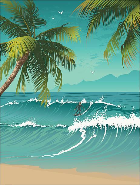 Surfing on ocean wave vector art illustration