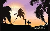 Surf scene at beautiful sunset with silhouette of three surfers, palm trees and seagulls.