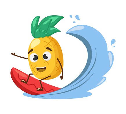 Surfing pineapple character. Cute funny pineapple on surfboard.