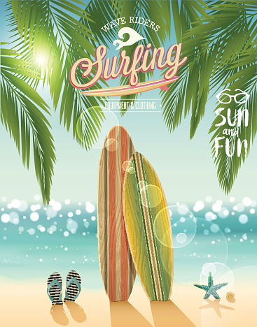 Surfing poster with tropical beach background.