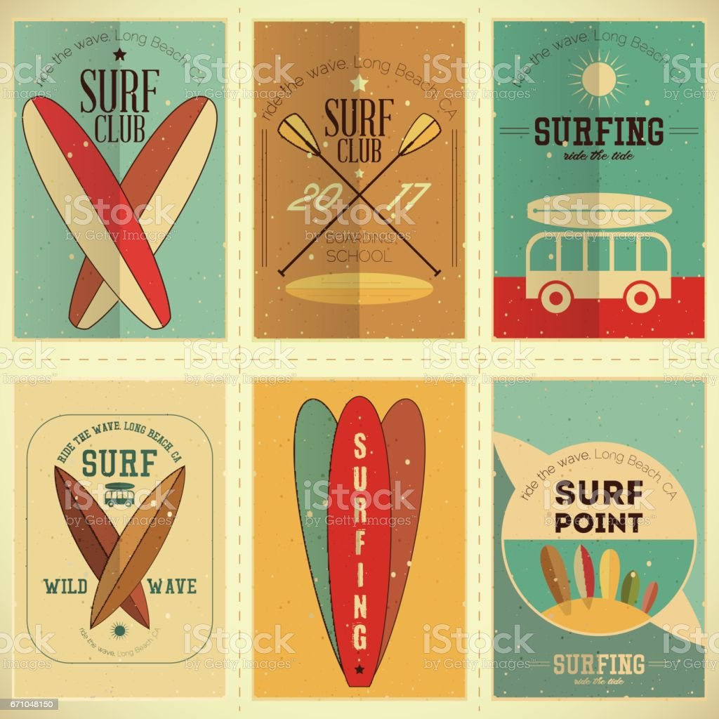 Surfing Posters Set vector art illustration
