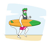 Surfing Recreation, Young Man Character in Sportswear Running to Ocean with Surf Board in Hands. Sportsman Summer Sparetime, Sport Activity, Healthy Lifestyle, Leisure. Linear Vector Illustration