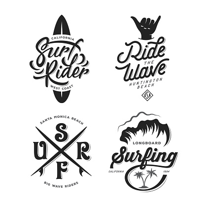 Surfing related typography set. Vector vintage illustration.