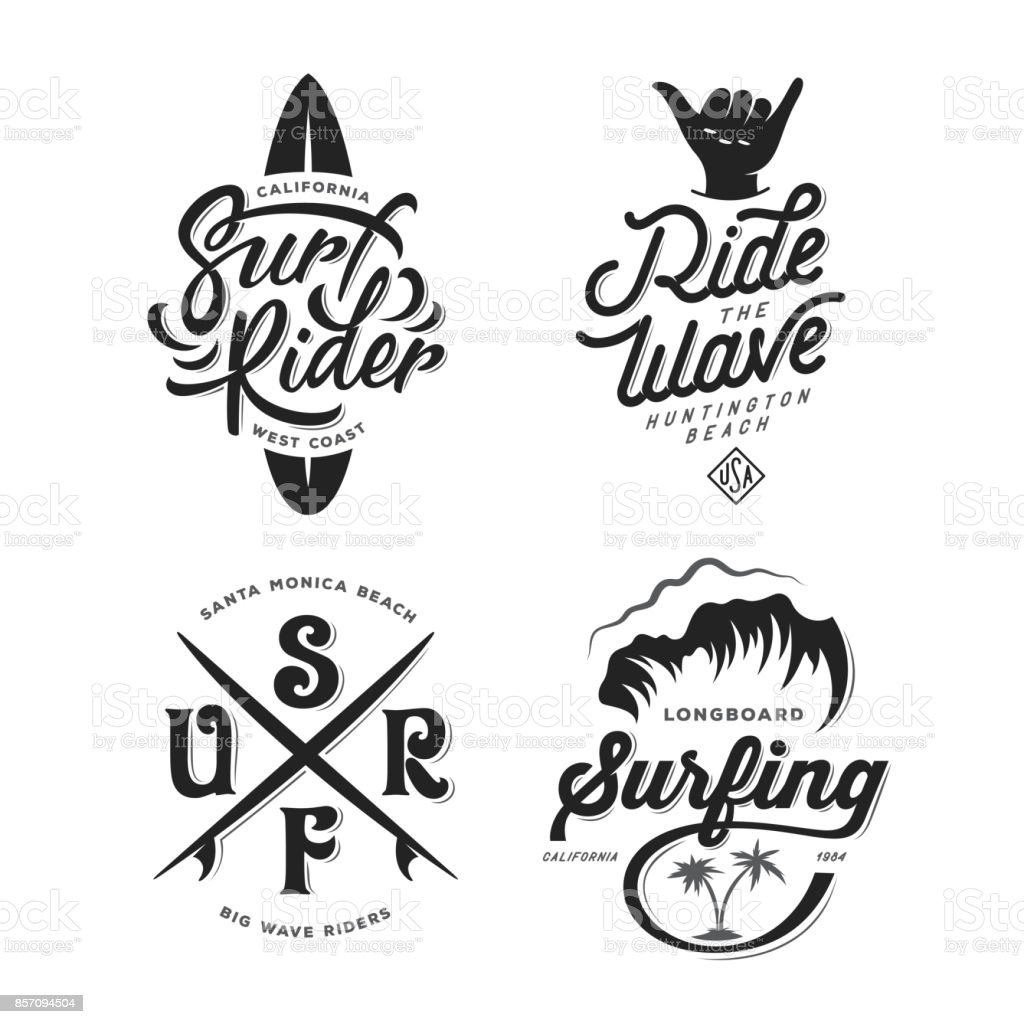 Surfing related typography set. Vector vintage illustration. vector art illustration