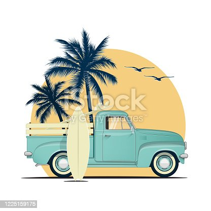 istock Surfing retro pick up truck with surf boards on sunset with palm silhouettes. Summer vacation or summer party themed vector illustration for flyer or poster or t-shirt design. 1225159175