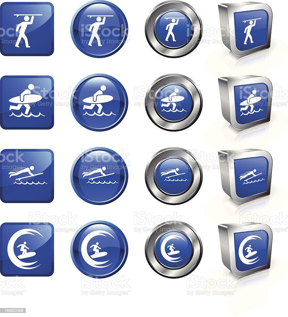 Surfing royalty free vector button set vector art illustration