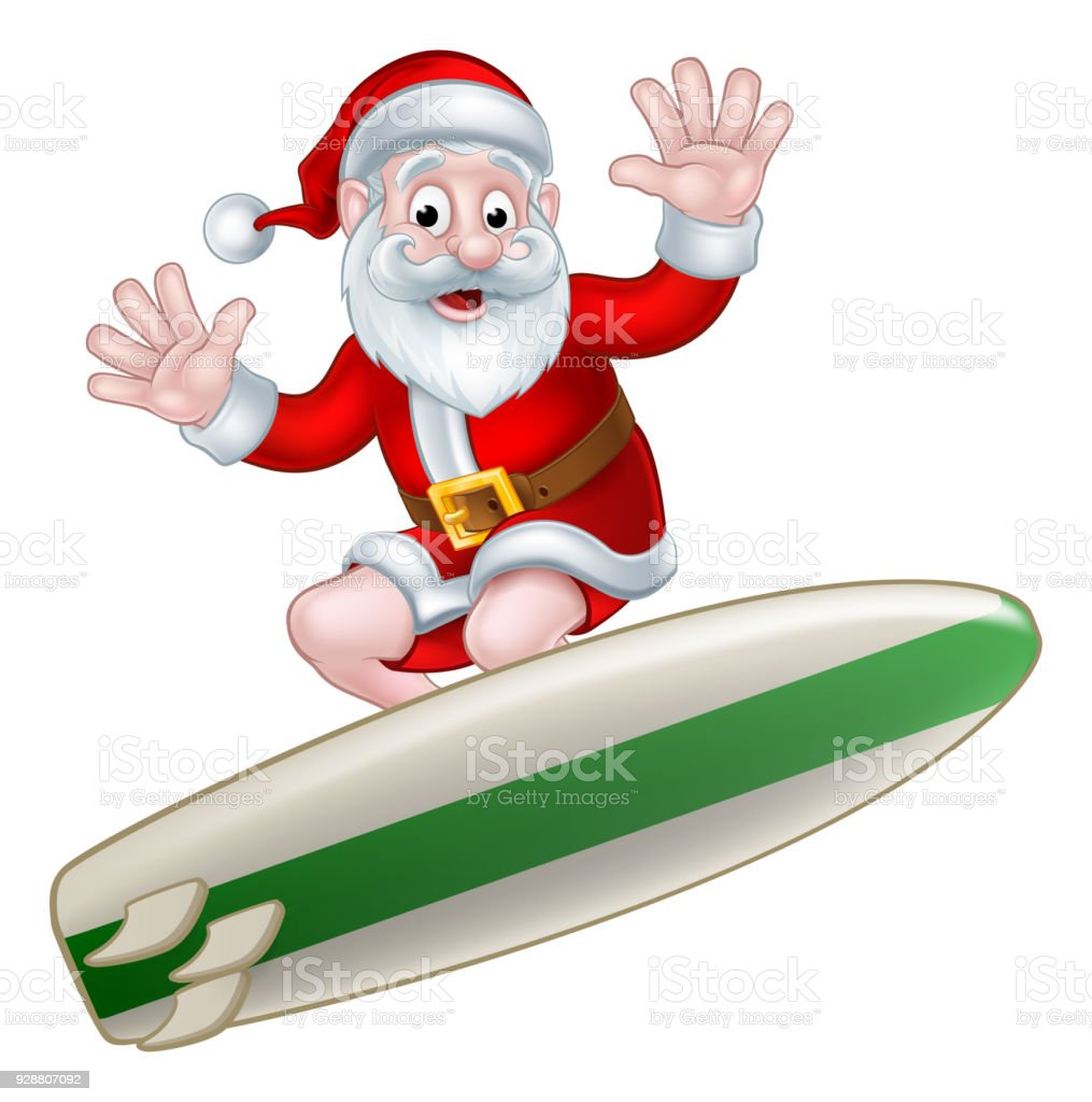 surfing santa stock vector art more images of adult 928807092 istock rh istockphoto com Funny Santa Claus Clip Art Surfing Santa Claus