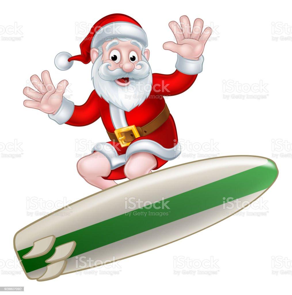 Surfing Santa vector art illustration