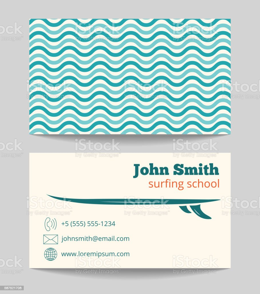 Surfing School Business Card Template stock vector art 587521706 ...
