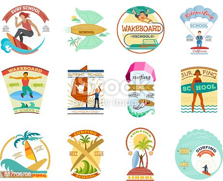 Surfing school vector set surfboard wakeboard windsurfing emblems surf badges labels and surfer wave water sport icons illustration isolated on white background.