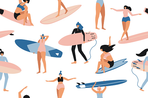 Surfing seamless pattern in vector. Surf girls character in swimsuit with a shortboard and Longboard. Summer design for fabric, wallpaper, packaging paper, backgrounds and decor.