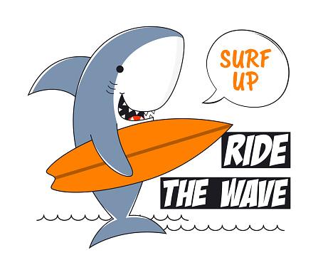 Surfing shark tee shirt with slogan. Surf t-shirt typography